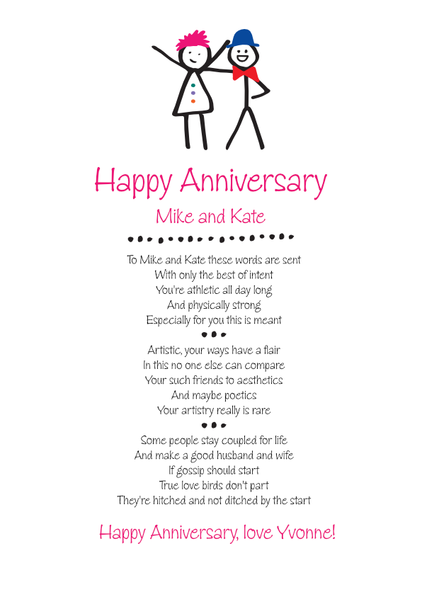 Fun and Amusing Anniversary Poetry Card 3
