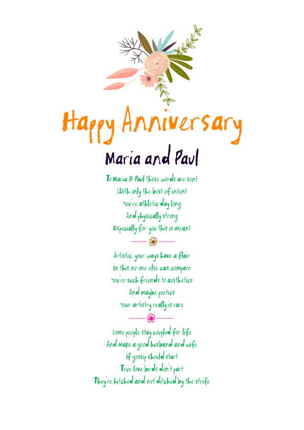 Fun and Amusing Anniversary Poetry Card 5