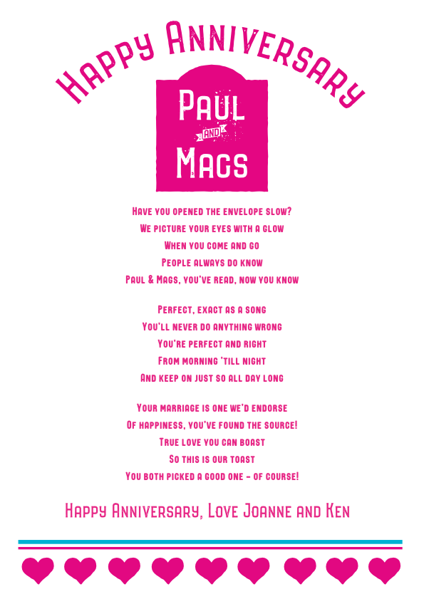 Fun and Amusing Anniversary Poetry Card 6