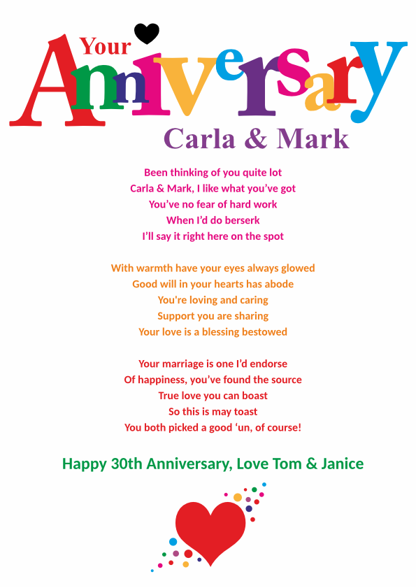 Fun and Amusing Anniversary Poetry Card 7