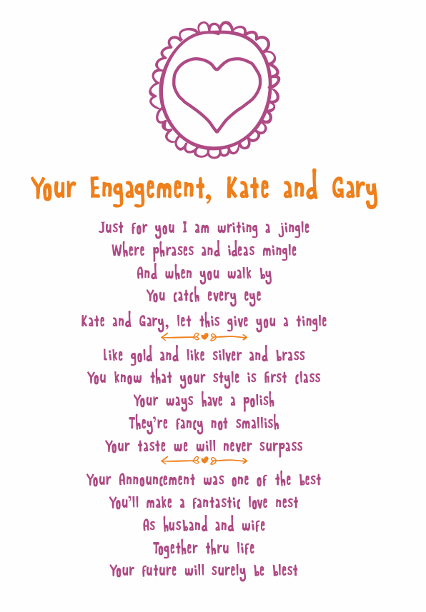 engagement poetry cards
