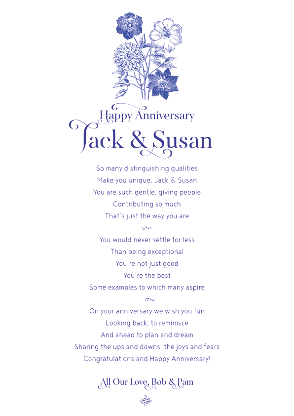 Serious and Sentimental Anniversary Poetry Card 1