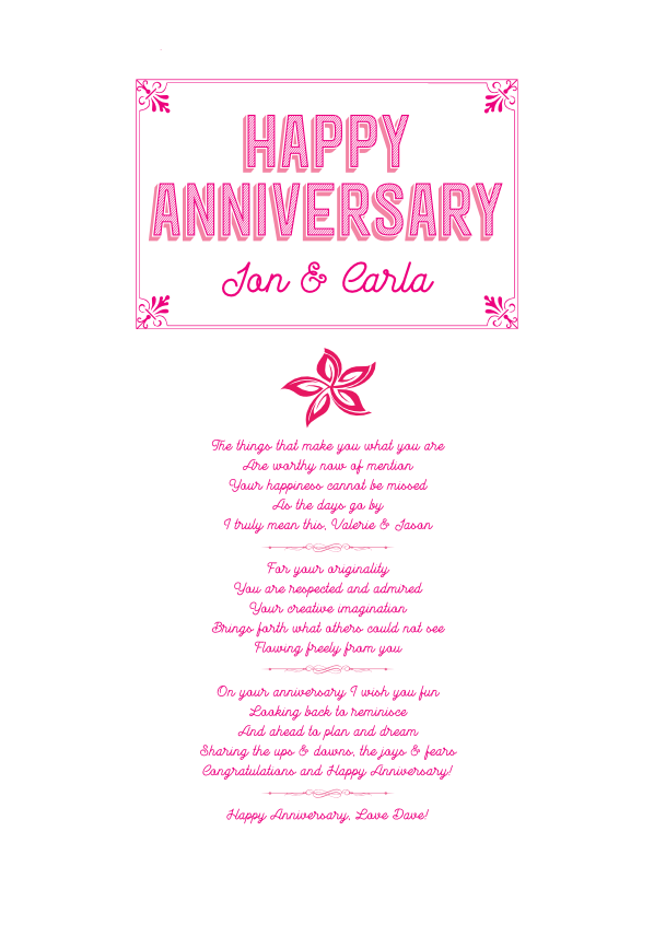 Serious and Sentimental Anniversary Poetry Card 10