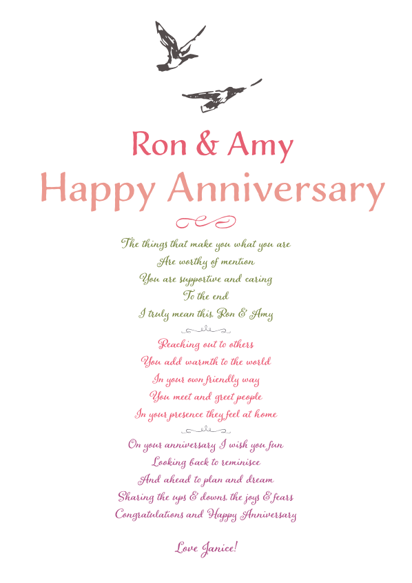 Serious and Sentimental Anniversary Poetry Card 3