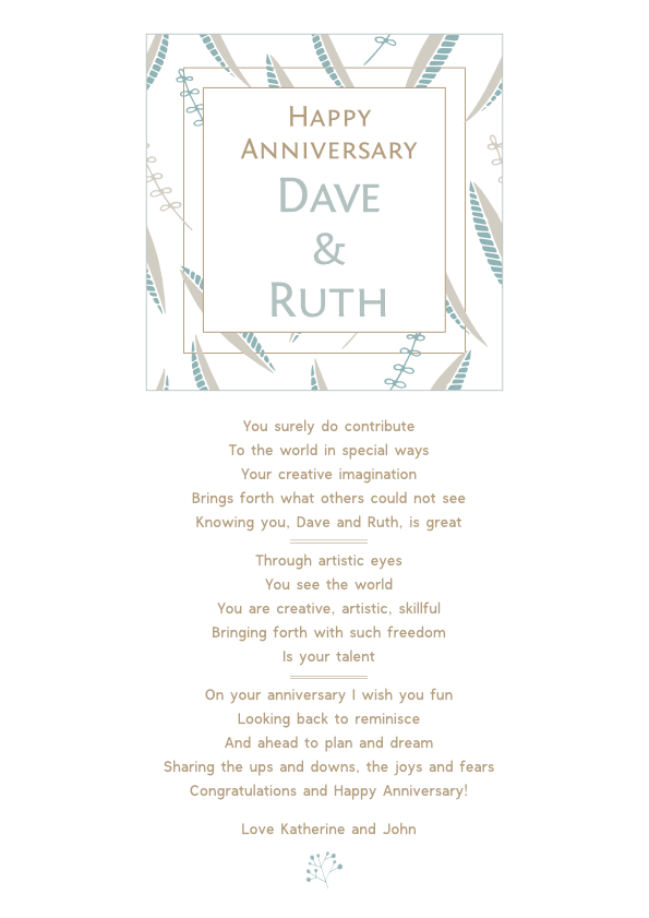 Serious and Sentimental Anniversary Poetry Card 6