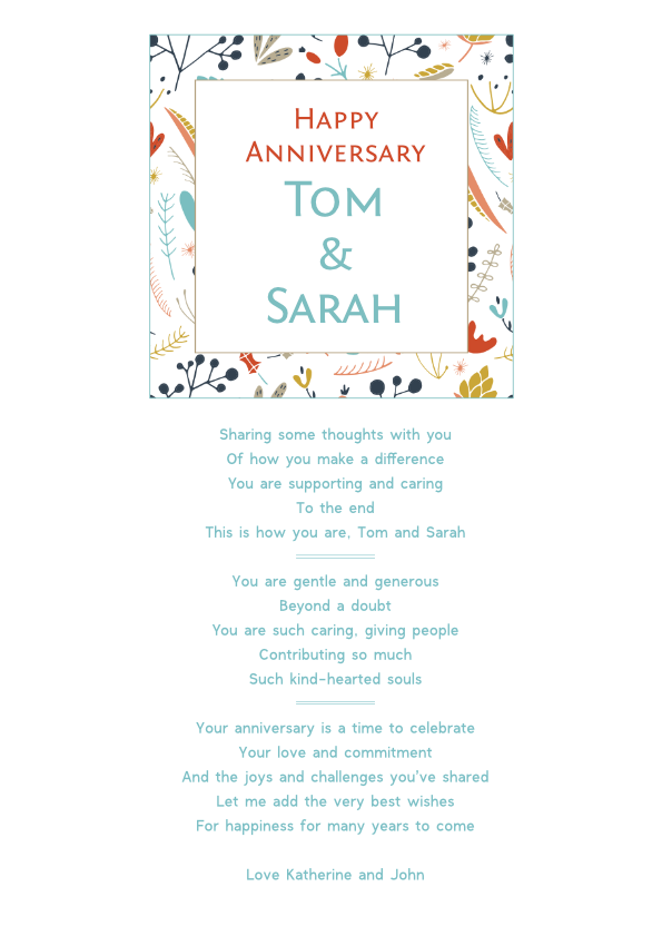 Serious and Sentimental Anniversary Poetry Card 7